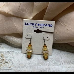 Lucky Brand Gold-Tone Citrine Stone Drop Earrings